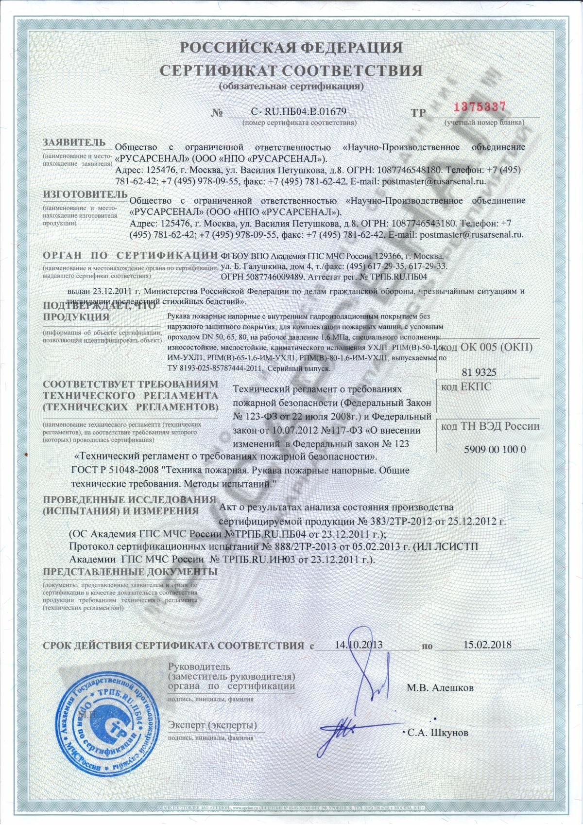 сертификат соответствия пожарных шкафов внутриквартирных